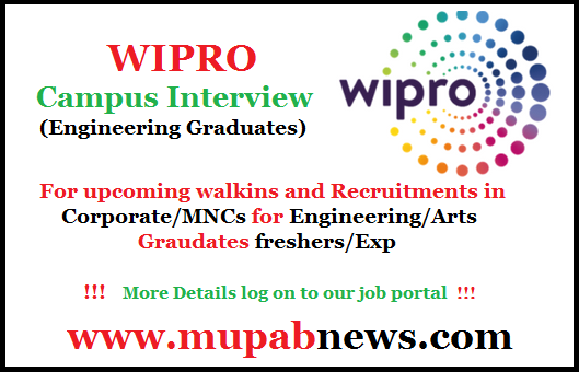 In this page, Job Seekers can find the Notification of latest walkin, off campus, Recuritments for freshers/experience in reputed MNCs/Corporate. Mupabnews Team Provides the Exact News related Job alert, Vacancies, Opportunities, Openings in main cities like Chennai, Mumbai, Delhi, Kolkata, Hyderabad and Kochi and all over india through online.