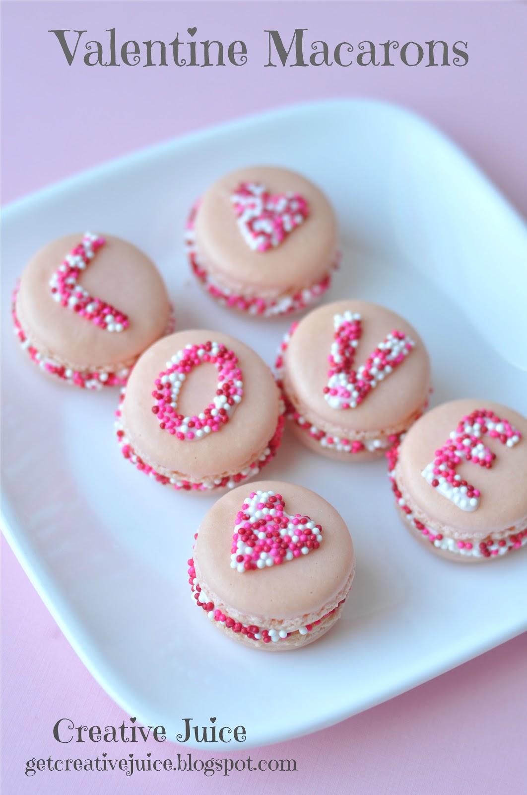 Valentine's Day Love Sprinkle Macarons Recipe - via BirdsParty.com