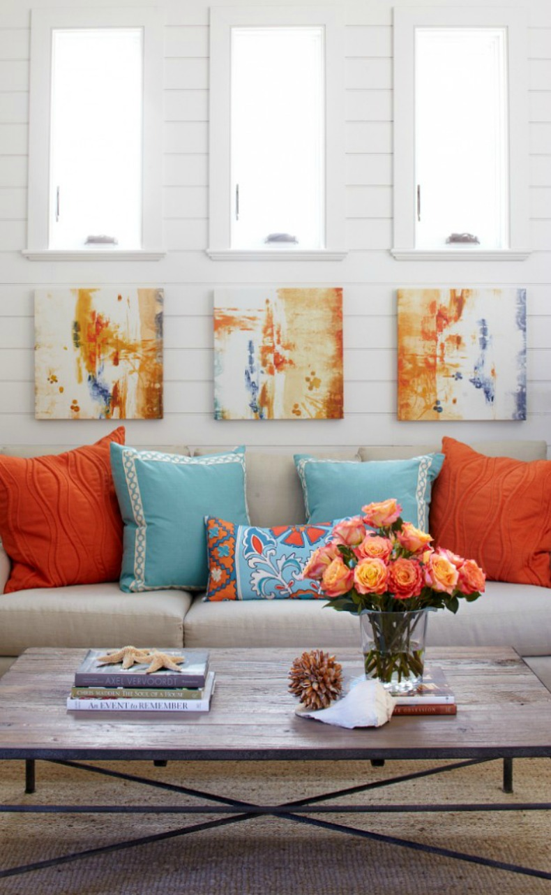 coral and aqua coastal living room