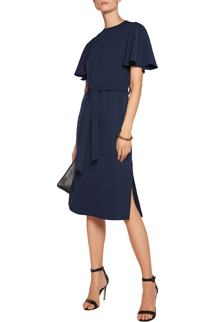 navy crepe classic dress