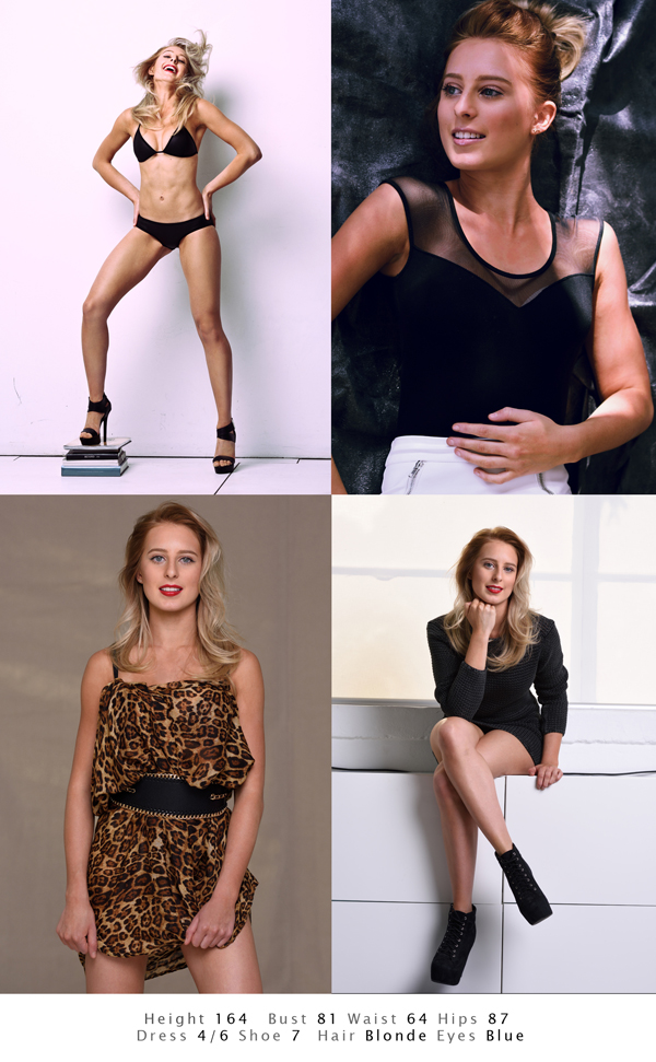 Modelling comp card, all shots made in the studio by Kent Johnson Photography, Sydney Australia.