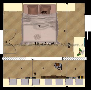 Planimetria della camera da letto standard con inserimento della cabina armadio