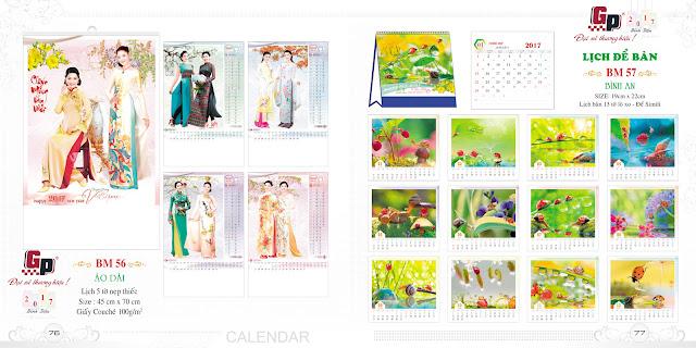 Mẫu lịch nẹp thiếc 5 tờ - Áo dài (ảnh 1) &  Bình an (ảnh 2)