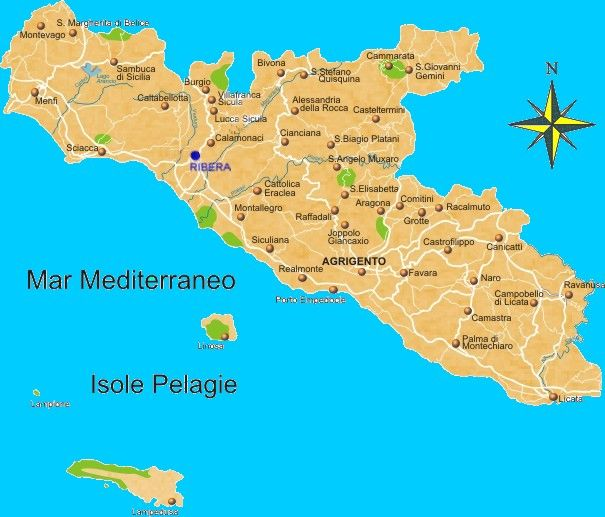 Agrigento Cartina Sicilia.Canada Mappa Provincia Di Agrigento Regione