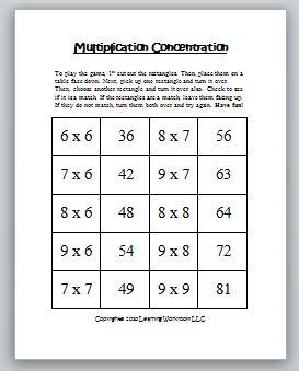 multiplication concentration games classroom freebies. Black Bedroom Furniture Sets. Home Design Ideas