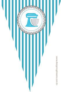 Banderines para Imprimir Gratis de Horneando en Azul.