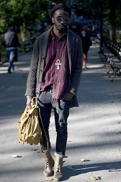 Homem negro de Cardigan Moda Masculina Calitta Brasil