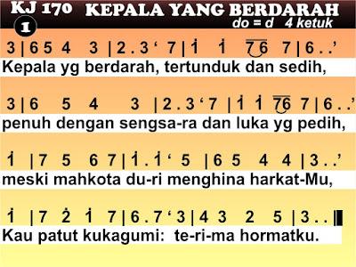 Lirik dan Not Kidung Jemaat 170 Kepala Yang Berdarah
