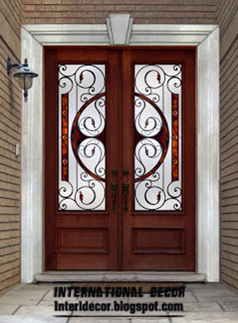 American Wooden Door With Stained Glass Design, Classic Wooden Door