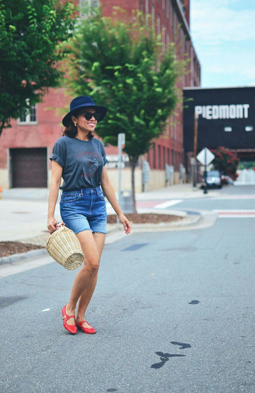 Denim shorts street style
