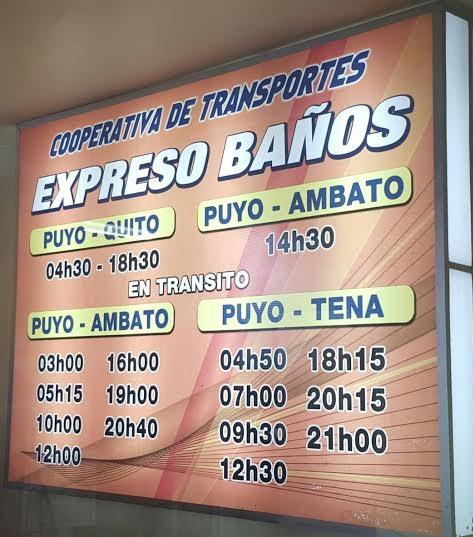 Cooperativa de Transportes Expreso Baños en la ciudad de Puyo