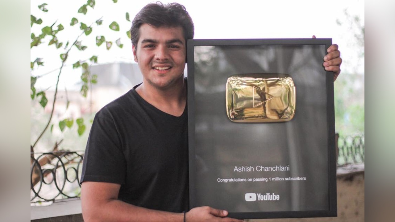 Ashish Chanchlani With His Gold Play Button