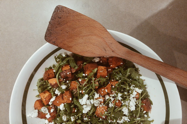 Warm Arugula, Sweet Potato and Wild Rice Salad