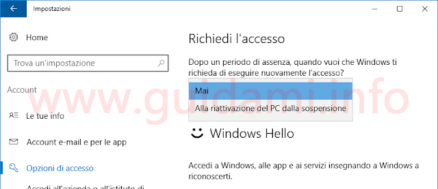 Windows 10 disattivare richiesta password riattivazione PC dopo la sospensione