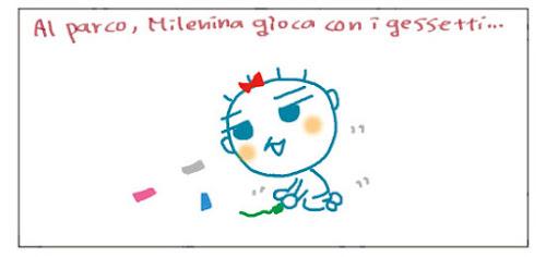 Al parco, Milenina gioca con i gessetti...