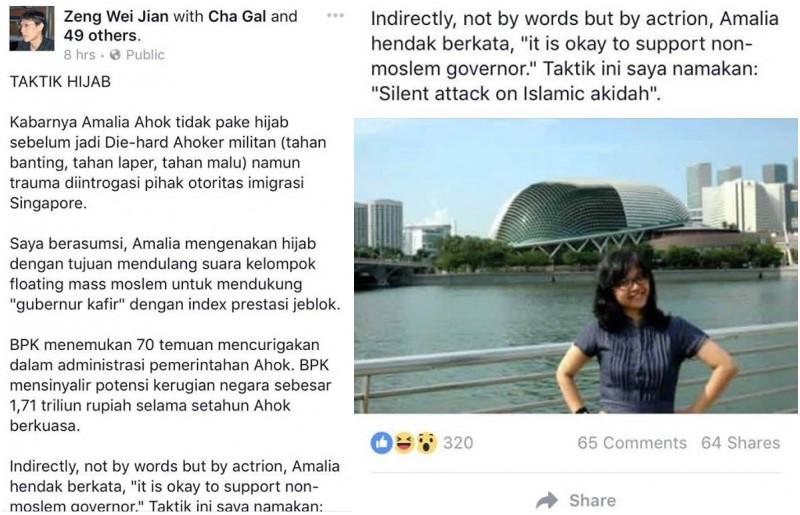Akun Zeng Wei Jian di Facebook menulis fitnah soal Amalia Ayuningtyas