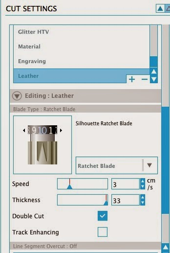 Silhouette tutorial, cutting leather, bow leather cuff, cut settings