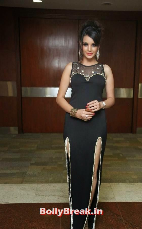 , Deeksha Panth Hot Photos in Black Without sleeve Dress