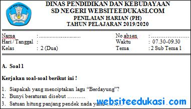 Soal PH Kelas 2 Tema 2 Subtema 1