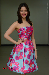Actress Tamanna Latest Images in Floral Short Dress at Okkadochadu Movie Promotions  0037.JPG