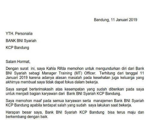 Surat Pengunduran Diri Bank