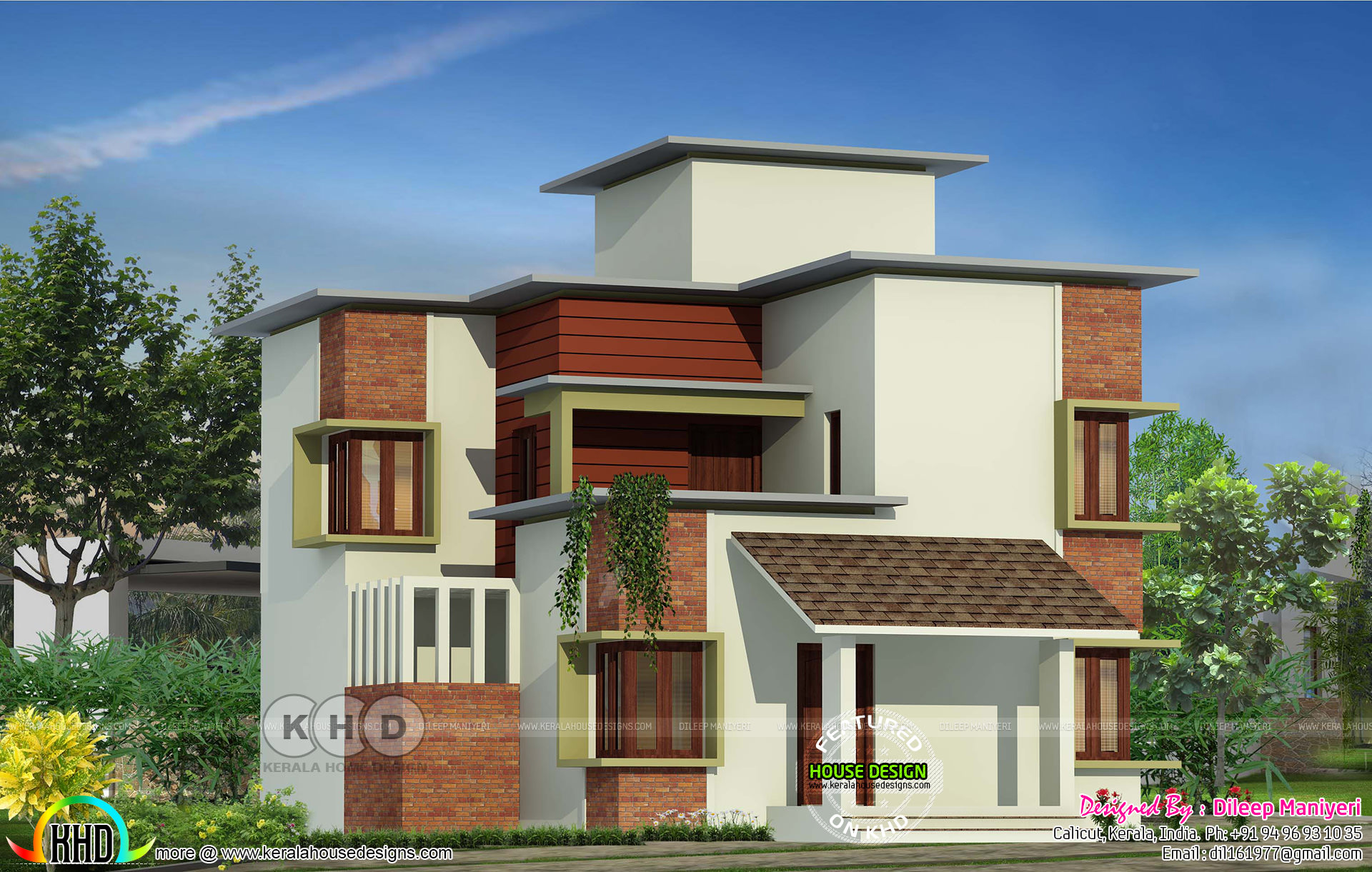 1955 square feet modern house kerala home design and for Modern square house