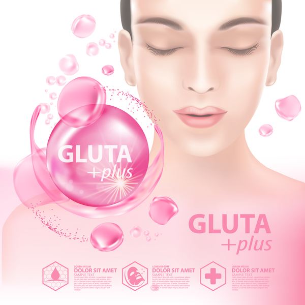 Gluta plus advertising poster template free vector