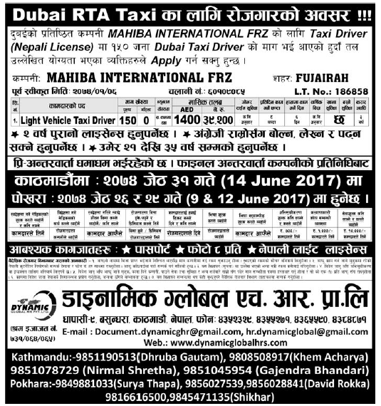 Jobs in Dubai for Nepali, Salary Rs 39,200