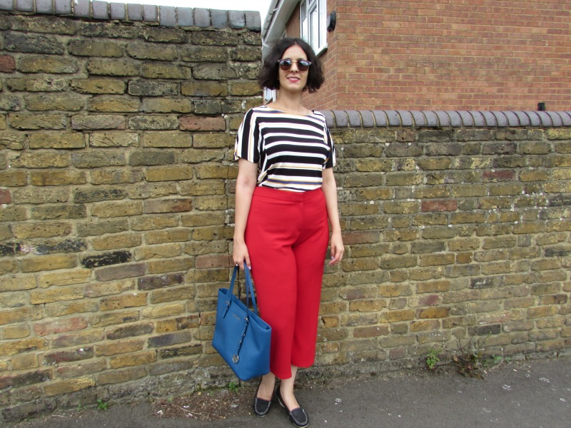 Red culottes and striped top