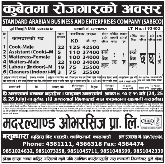 Jobs in Kuwait for Nepali, Salary Rs 42,500