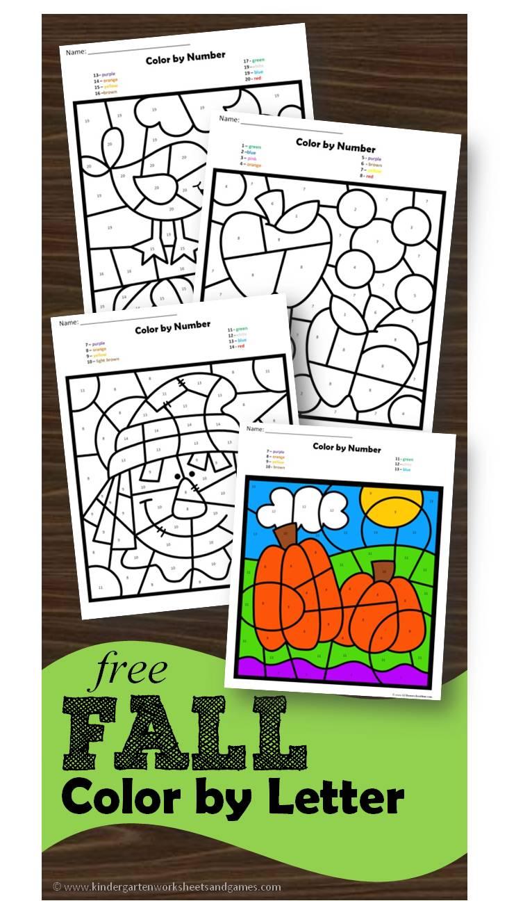 kindergarten worksheets and games free fall color by letter. Black Bedroom Furniture Sets. Home Design Ideas