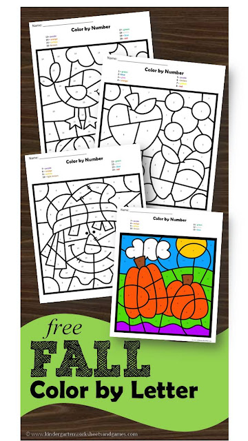 FREE Fall Color by Letter - these are such a fun way for preschool, prek, and kindergarten age kids to practice identifying alphabet letters in a fun, hands on educational activity. #colorbycode #alphabet #kindergarten
