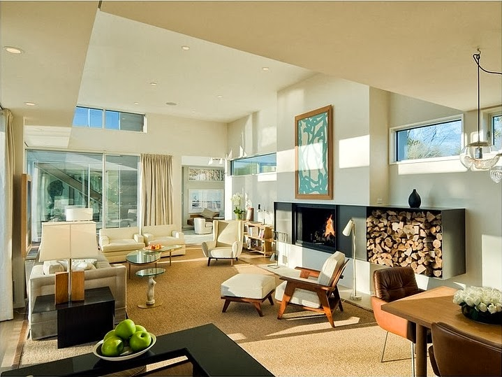 Living room with fireplace in Modern house by Blaze Makoid Architecture