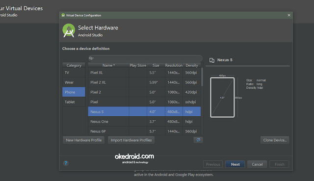 Select Hardware Membuat AVD di Android Studio