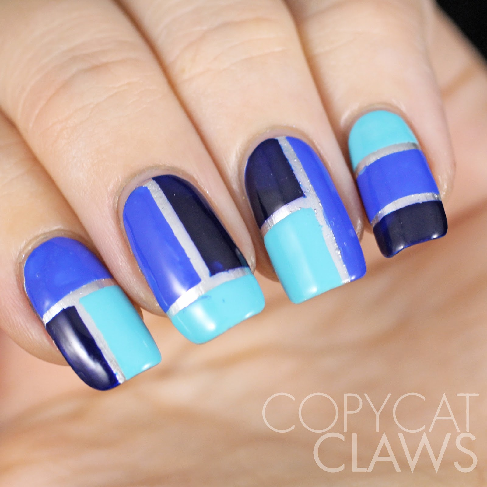 Copycat claws blue color block nail art after i pulled the nail vinyls off i finished with a coat of hk girl it left some bubbles on my ring finger as you can see but no biggie prinsesfo Images