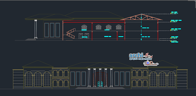 Library with multifuncional in AutoCAD
