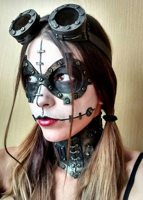 Steampunk makeup goggles with rivets and screws. special fx makeup