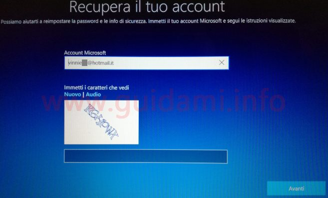 Windows 10 Reimpostazione password schermata Recupera il tuo account