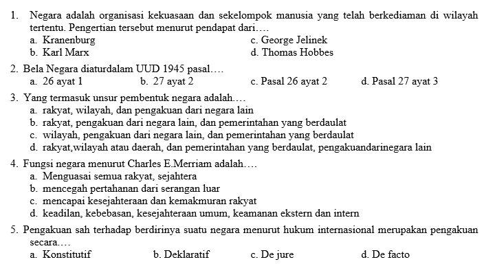 contoh soal essay pkn kelas 7 tentang ham
