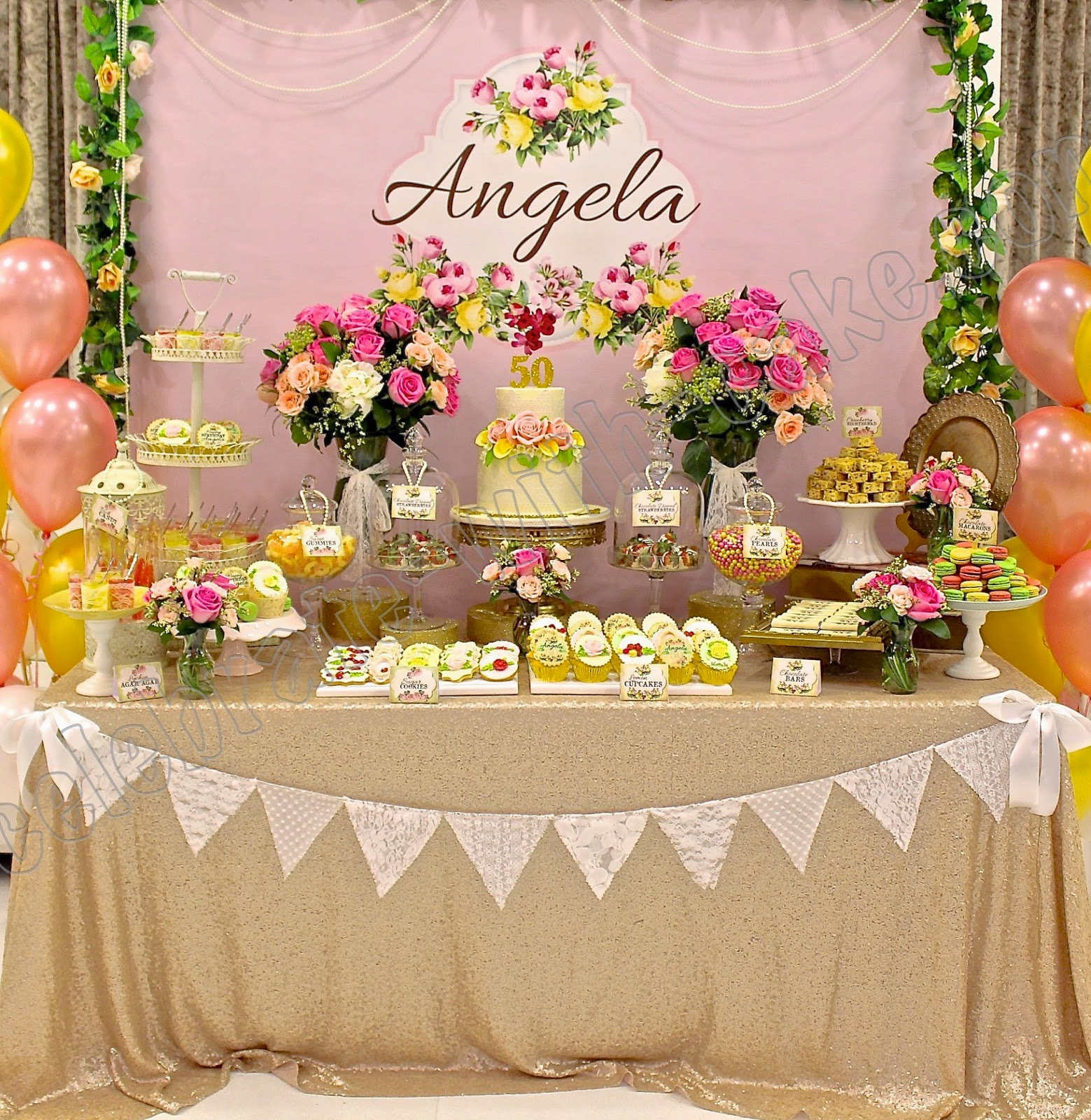 Vintage Floral Themed Dessert Table Click Post To View