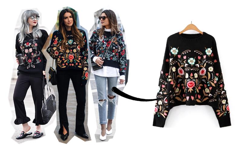 maglione a fiori zara