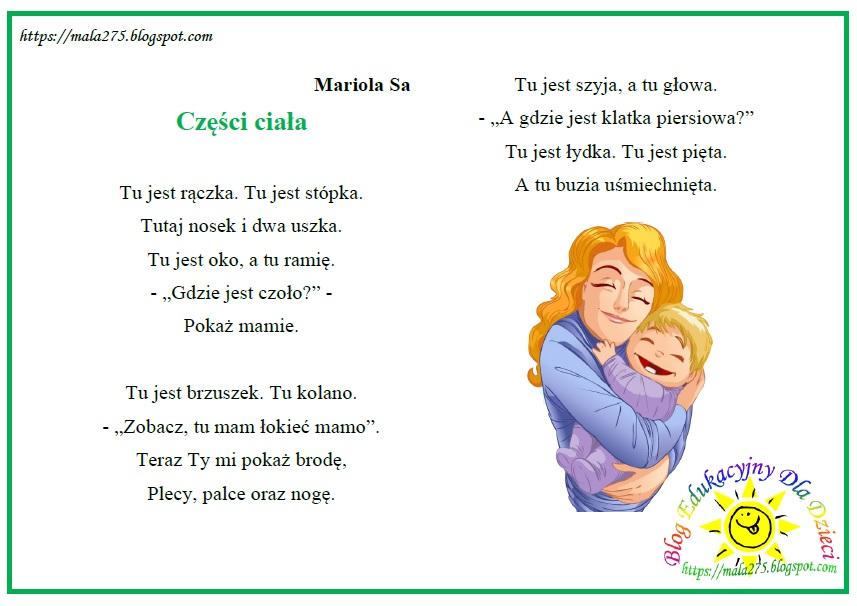 Blog Edukacyjny Dla Dzieci Części Ciała Wiersz Do Pokazywania