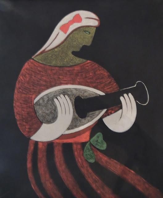 Juan Navarro Ramón mujer tocanado mandolina música pintura posguerra