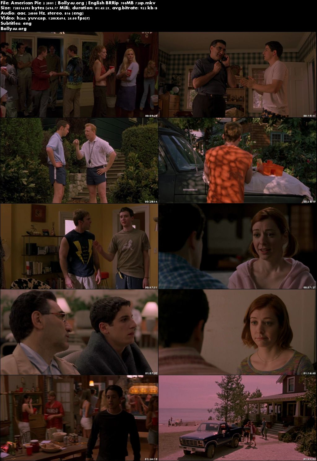 American Pie 2 2001 BRRip 700MB English Movie 720p Download