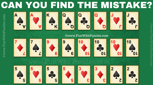 This is hard cards mistake picture riddle in which your challenge is to find the mistake