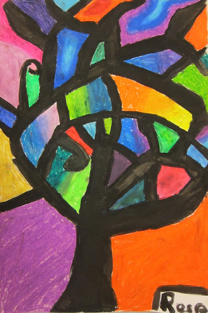Abstract Oil Pastel Trees