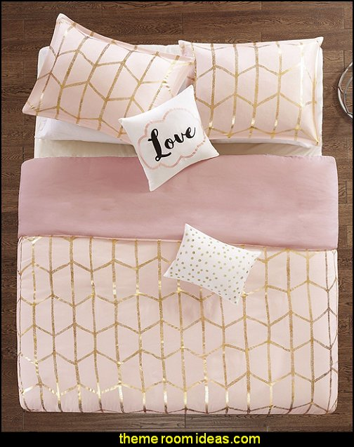 Blush Pink Metallic Gold Geometric Shape Duvet Cover