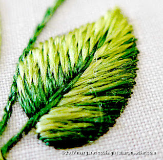 Completed embroider leaf in great detail. (Society Silk Violets)