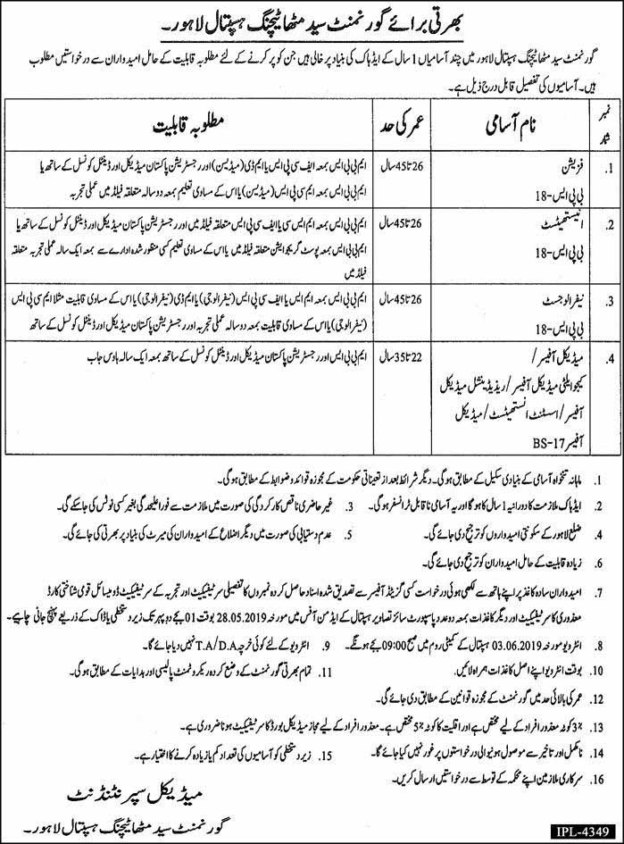 Today Jobs in Govt Syed Mitha Teaching Hospital Lahore 16 May 2019