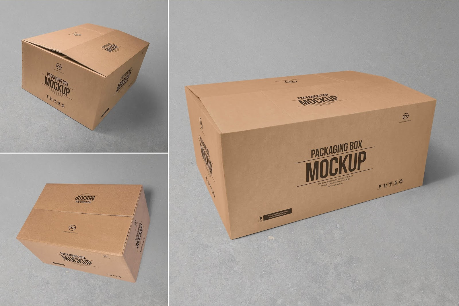 Download 75+ Best Cardboard Box Mockup Templates | Graphic Design ...